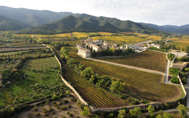 General-aerial-view-of-the-monastery-complex-of-Santa-Maria-de-Poblet-in-autumn-with-the